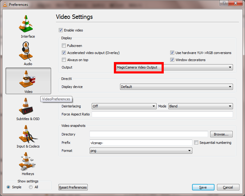 Video setting in vlc player